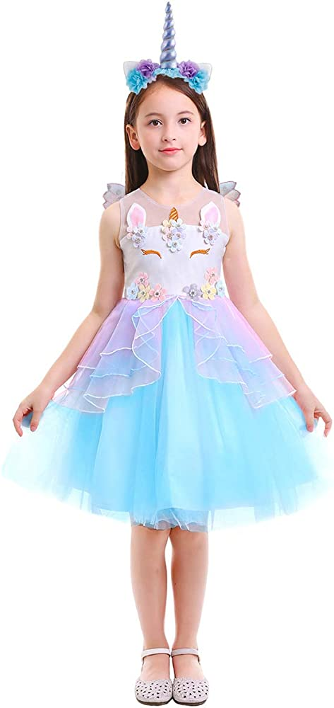 7ab33fb320d47 Amazon.com: Girls Unicorn Dress up Costume Princess Pageant Party ...