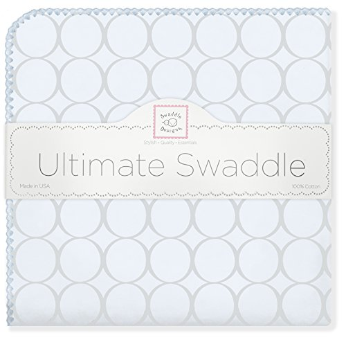 SwaddleDesigns Ultimate Swaddle, X-Large Receiving Blanket, Made in USA Premium Cotton Flannel, Sterling Mod Circles on Sunwashed Blue (Mom's Choice Award Winner) ()