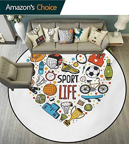 n Washable Round Bath Mat,Heart Figure with Sports Icons Swimming Skating Muscle Good Lifestyle Healthy Living Non-Slip Bathroom Soft Floor Mat Home Decor,Diameter-24 Inch ()