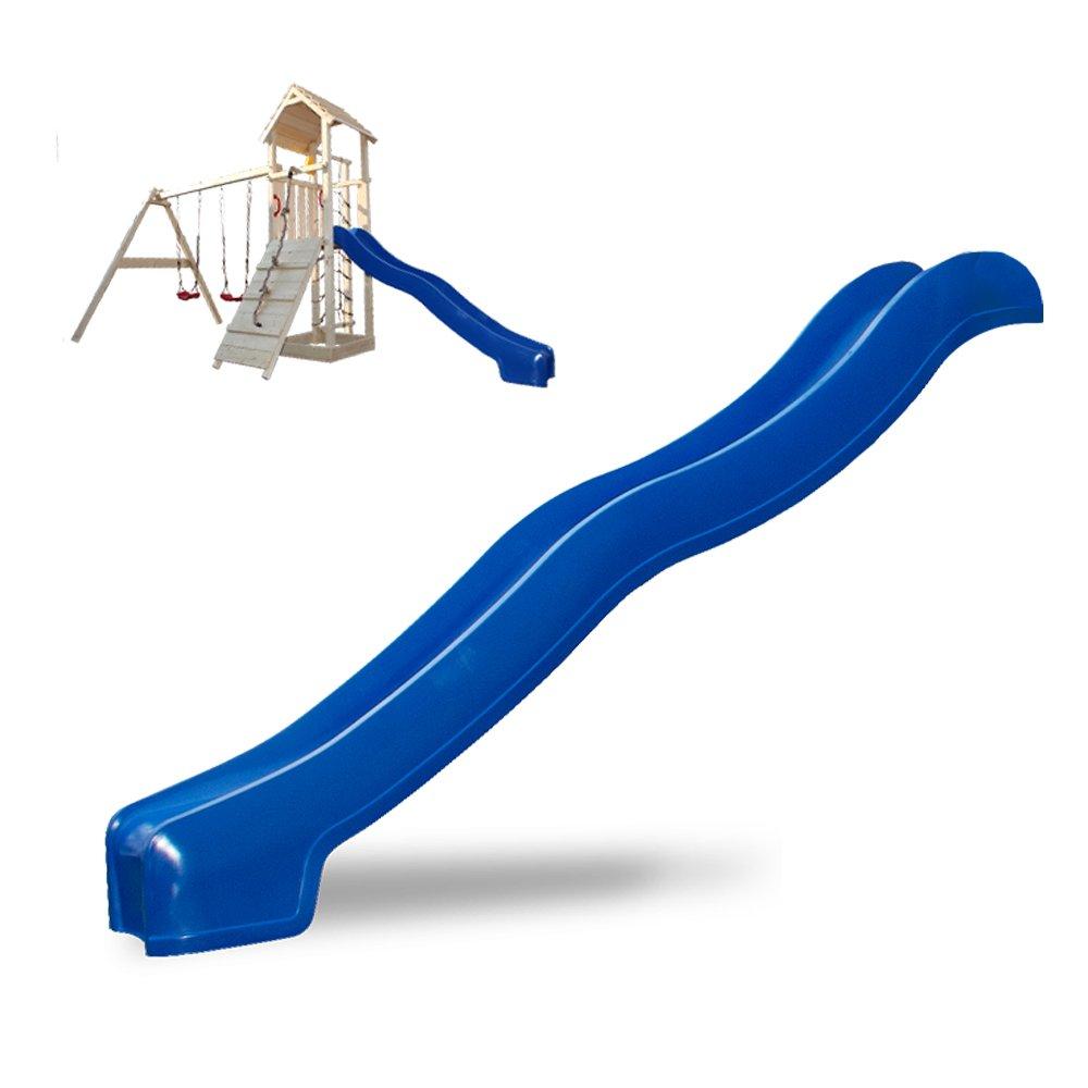 Spielturm Rutsche Zubehör 300 cm Wellenrutsche Anbaurutsche Kletterturm blau (Blau 300 cm)