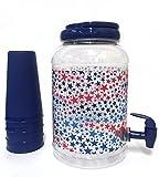Classic American Sun Tea Jar & 4 Tumblers, Blue, Stars