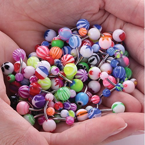 Bodyj4you Assorted Lot Of 100 Belly Button Rings 14g 1 6mm Curved