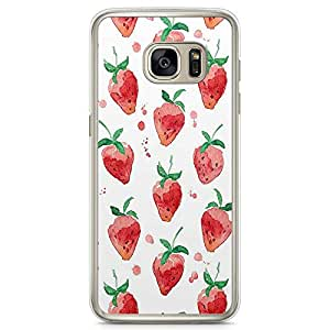 Samsung Galaxy S7 Transparent Edge Phone Case Strawberry Phone Case Pink Pattern Phone Case Delicious