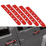 Jeep Grab Handle Inserts Cover 5 Pcs Aluminum Front & Rear Door Red Handle Decoration Trim for 2007-2017 4 Door Jeep Wrangler JK & Unlimited