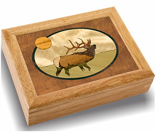 MarqART Elk Wood Art Box - Handmade in USA - Trinket Jewelry Boxes & Gift - Unmatched Quality - Unique, No Two are The Same - Original Work of Wood Art (#2106 Elk Calls 6x8x2)