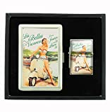 French Vespa Ad Vintage Cigarette Case and Flip Top Oil Lighter Set