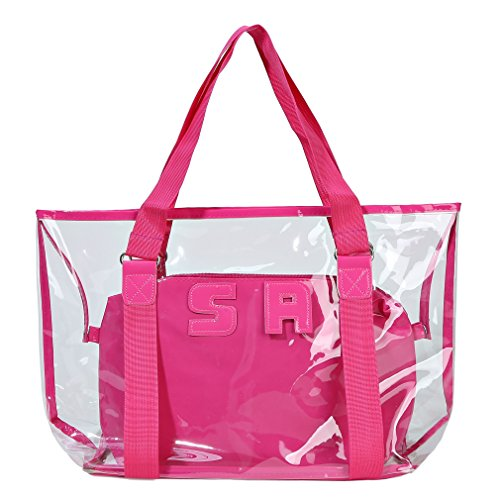 Sumerk 2 in 1 Large Clear PVC beach bag, Waterproof Beach Shoulder Bag