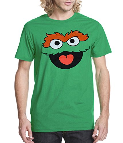 Sesame Street Oscar The Grouch Face Adult T-Shirt -