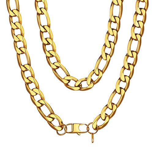 ChainsHouse Men ChunkyItalian Necklace 18K Gold Plated Hip Hop Jewelry 13MM Wide Gold Plated Thick Link Figaro Chain -30inch