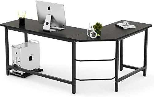 Tribesigns Modern L-Shaped Desk Corner Computer Desk PC Laptop Study Table Workstation Home Office Wood Metal