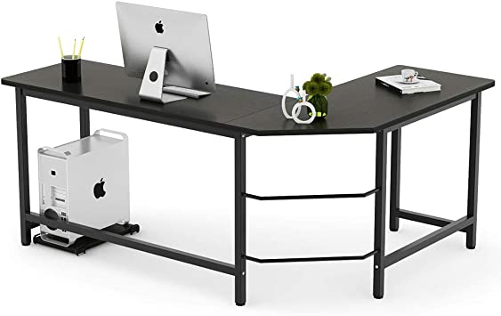 Home Office Computer Desk White Black PC Laptop Table Corner Study Workstation