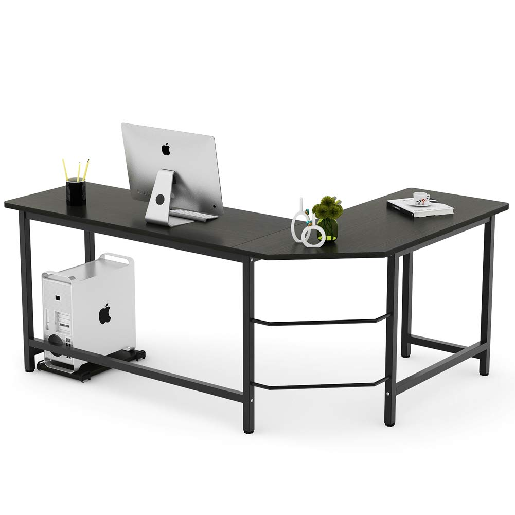 Tribesigns Modern L-Shaped Desk Corner Computer Desk PC Laptop Study Table Workstation Home Office Wood & Metal, Black by Tribesigns