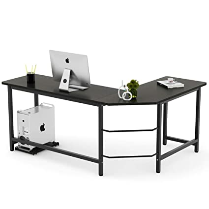 amazon com tribesigns modern l shaped desk corner computer desk pc rh amazon com l shaped computer desks uk l shaped computer desks ikea