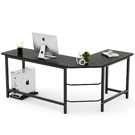Tribesigns Modern L-Shaped Desk Corner Computer Desk PC Laptop Study Table  Workstation Home Office Wood & Metal, Black