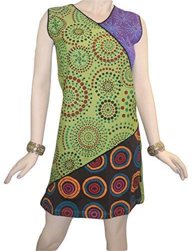 Rd Commercianti 12 Al Maglia Ginocchio Multicolore Bohemien Estate Zingara Vestito Agan Cotone Nepal In ZZrwR5q