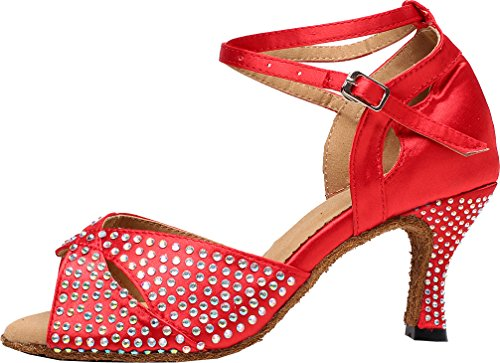 Shoes Toe EU Dance Womens Rhinestone Wedding Party AQQ Red Heel 6191 Tango Satin Mid Peep 37 FYqxw71