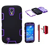 Topforcity Rugged Hybrid Rubber Shockproof Protective Case for Samsung Galaxy S4 IV i9500 with Screen Protector(black+purple)