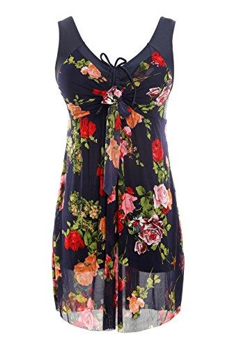 NoNoCat Flower Printing Modest 1 Piece Swimwear Cover Up swimdress Plus Size for Women2XL(US 18W- 20W), Navy Red