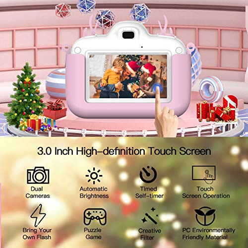 Themoemoe Kids Digital Camera Childrens Camera, Touch Screen Video Photo Camera for Kids Rechargeable Toddler Camera with Lanyard, 16G SD Card, Birthday for Boys (Pink)