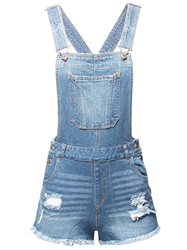 Made by Emma Casual Denim Single Chest Pocket Adjustable Straps Cute Short Overalls S by Made by Emma