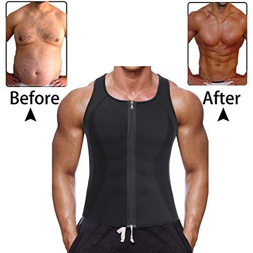 Ursexyly Men's Hot Sweat Workout Tank Top Body Shaper Zip Slimming Neoprene Weight Loss Tummy Fat Burner (L, Black vest - Hot Hombres