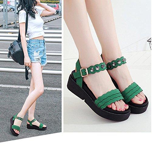 Versión Plataformas De Gran Estudiante Zapatos Casuales De Mujer Alta Tacones Mejorada Zapatos De Tamaño De Green Toe Sandalias Planas Calidad Cuña Slip Sandalias Trenzado q5fxAwHH1t