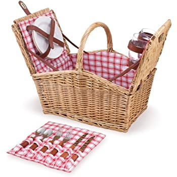 Picnic Time Piccadilly Willow Picnic Basket for Two People, with Plates, Wine Glasses, Cutlery, and Corkscrew - Red/White Plaid