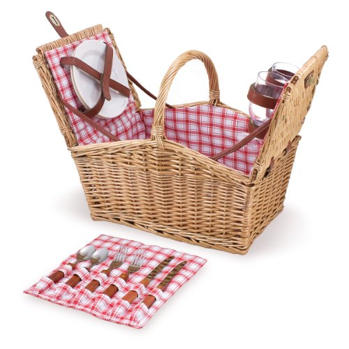 Picnic Time Piccadilly Willow Picnic Basket for Two People, with Plates, Wine Glasses, Cutlery, and Corkscrew – Red White Plaid