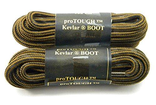 54 Inch Rust w/Black Brown proTOUGH(tm) Heavy Duty Kevlar Reinforced Boot Laces Shoelaces - 2 Pair ()