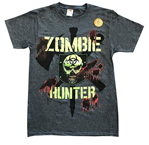 Zombie Hunter Glow in The Dark Blood Covered Bio-Hazard T-Shirt (Medium (38/40)) ()