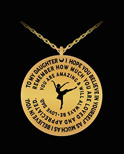 Daughter Dancing Pendant - Personal Gift From Dad - Dancer Girl Necklace - Gold Laser (Irish Step Dancer Costume Halloween)