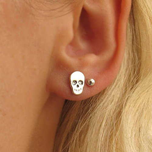 93aecfe72 Image Unavailable. Image not available for. Color: Silver Skull Studs -  Sterling ...