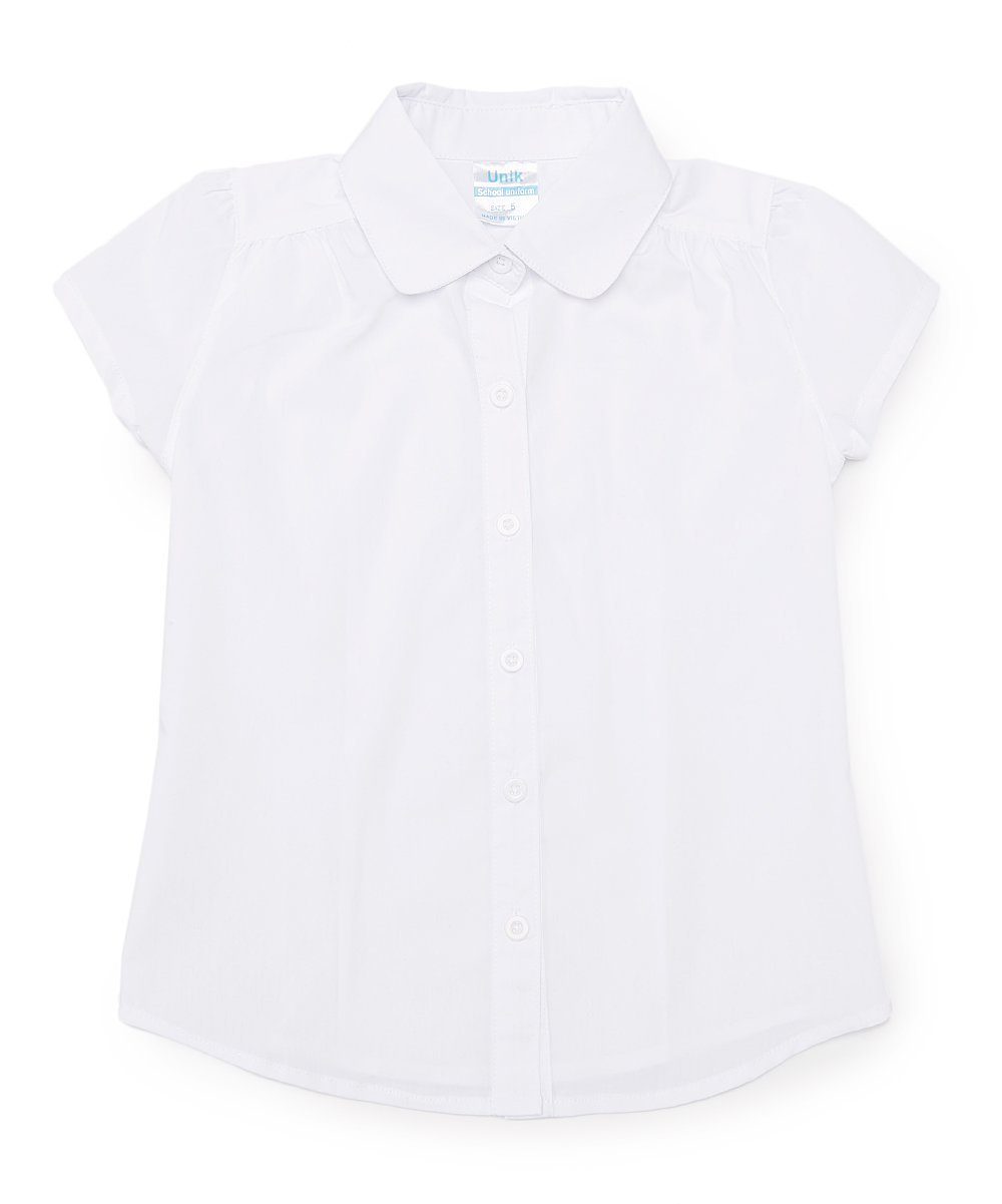 unik Girls' Uniform Button Up Blouse, White Size 10