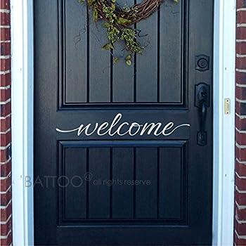 BATTOO Welcome Door Vinyl Decal - Welcome Front Door Sticker - Welcome Door Decal - Welcome sticker - Vinyl Decal Door(white 12  WX2 H) & Amazon.com: Welcome Indoor/outdoor Front Door Vinyl Sticker -Wall ...