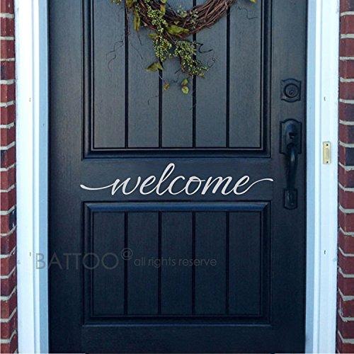 Welcome Vinyl - BATTOO Welcome Door Vinyl Decal - Welcome Front Door Sticker - Welcome Door Decal - Welcome sticker - Vinyl Decal Door(white, 12