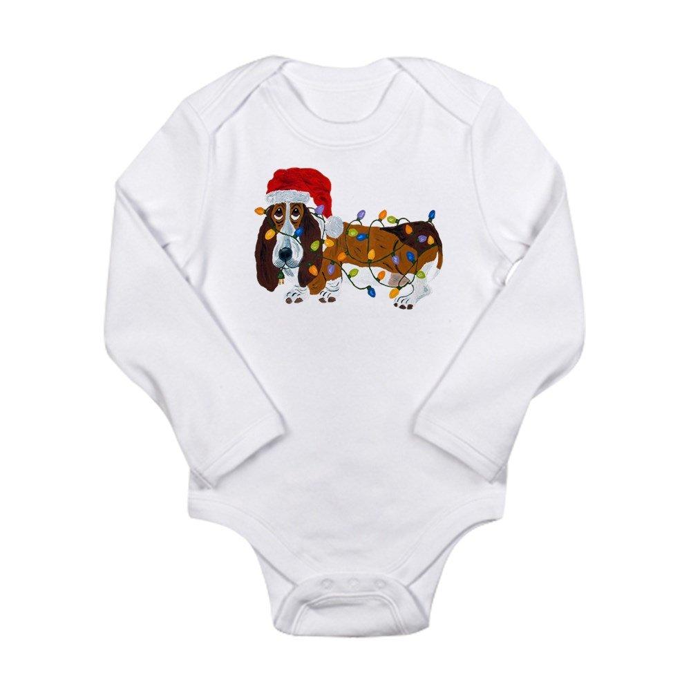 CafePress Basset Tangled in Christmas Lights Baby Bodysuit