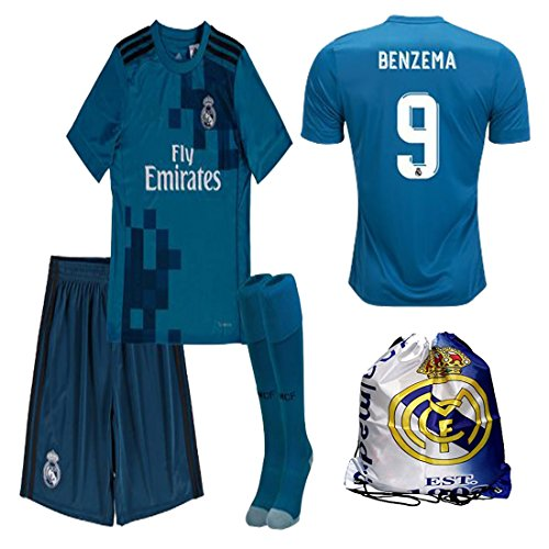 Benzema Madrid Real (Real Madrid NB Ronaldo Bale Benzema Ramos 2017 2018 17 18 Kid Youth REPLICA Third Jersey Kit : Shirt, Short, Socks, Bag (Benzema Third, Size 26 (9-10 Yrs Old Approx.)))