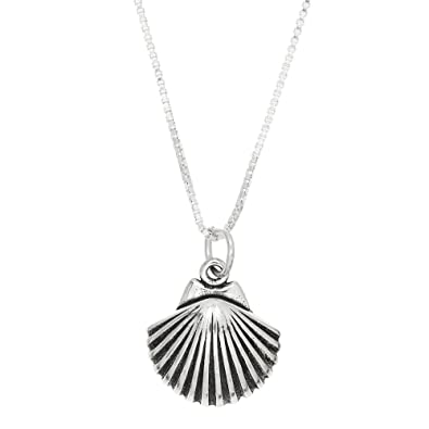 Amazon sterling silver oxidized one sided seashell necklace 16 sterling silver oxidized one sided seashell necklace 16 inches aloadofball Gallery