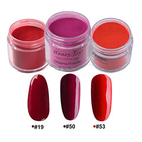 - 3pcs 28g/Box Red Colorful Dipping Powder Without Lamp Cure Nails Dip Powder Summer Gel Nail Color Powder Natural Dry (#19-50-53)