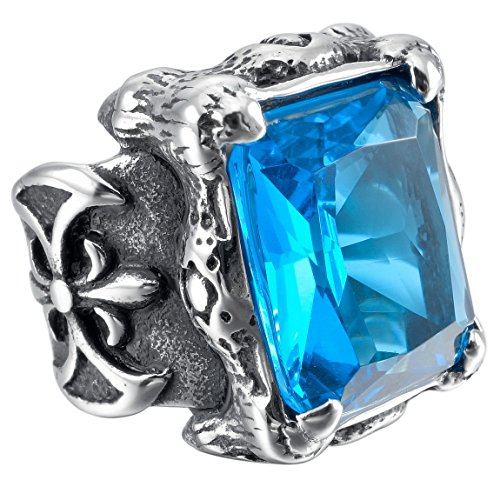 Blue Glass Ring (INBLUE Men's Stainless Steel Glass Ring Silver Tone Black Blue Dragon Claw Knight Fleur De Lis Size10)