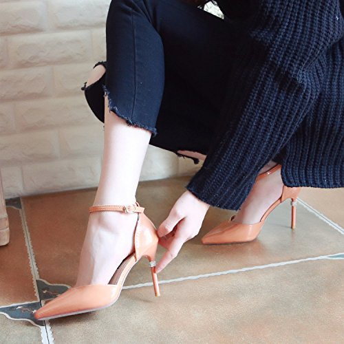ZHUDJ Hebillas De Primavera Con La Mujer, Los Zapatos Zapatos Zapatos De Tacón Alto Tacones, Tacones Altos, El Agua Superficial Puntos De Perforación Superficial, Solo Zapatos Zapatos,36,Albaricoque 1fbcc4