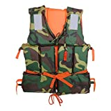 Filfeel Camouflage Life Jacket, Adult Boating Swimming Buoyancy Aid Polyester Floating Foam with Whistle