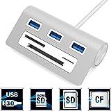 Sabrent Premium 3 Port Aluminium USB 3.0 Hub mit Multi-In-1 Kartenleser (30 cm Kabel) für iMac,...