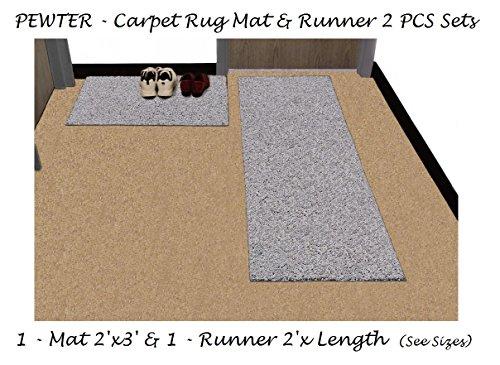 PEWTER Carpet Door Mat & Rug Runner 2 Pcs Sets   Consists of: 1-2'x3' Mat & 1 Runner 2'x Length (Sizes: 6', 8', 10', 12', 14', 16') (1-Mat 2'x3' & (12' Gray Boots)