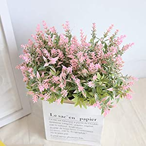 NIHAI Artificial Flowers 15Heads Real Looking Fake Lavender Plastic Flower for DIY Wedding Bouquet Bridal Garden Party Home Outdoor Decorations (Pink) 9
