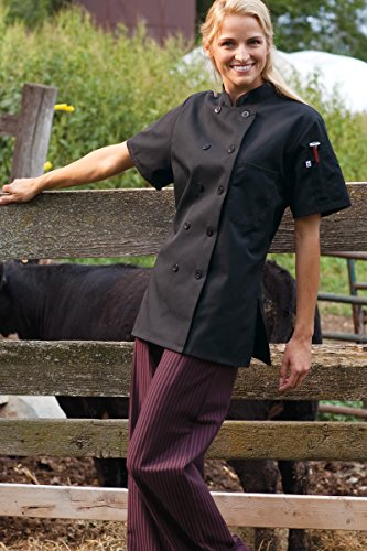 Uncommon Threads Women's Tahoe Fit Chef Coat, Black, Large (Tahoe Coat)