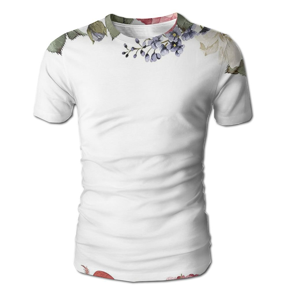 Edgar John Romantic Wedding Valentines Inspired Mix Rose Peony Petals Wreath Elegance Design Men's Short Sleeve Tshirt XL