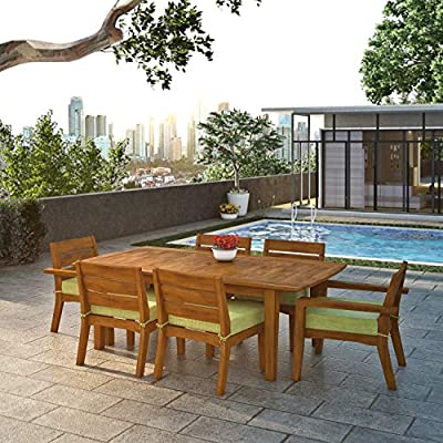 Global Outdoors 7-Piece Eucalyptus Dining Set (Green) - Made in Vietnam FSC Certified Eucalyptus Wood Warm Teak Stain - patio-furniture, dining-sets-patio-funiture, patio - 51NE5mCMqLL. SS400  -