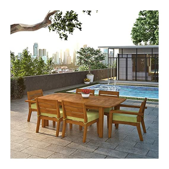 Global Outdoors 7-Piece Eucalyptus Dining Set (Green) - Made in Vietnam FSC Certified Eucalyptus Wood Warm Teak Stain - patio-furniture, dining-sets-patio-funiture, patio - 51NE5mCMqLL. SS570  -