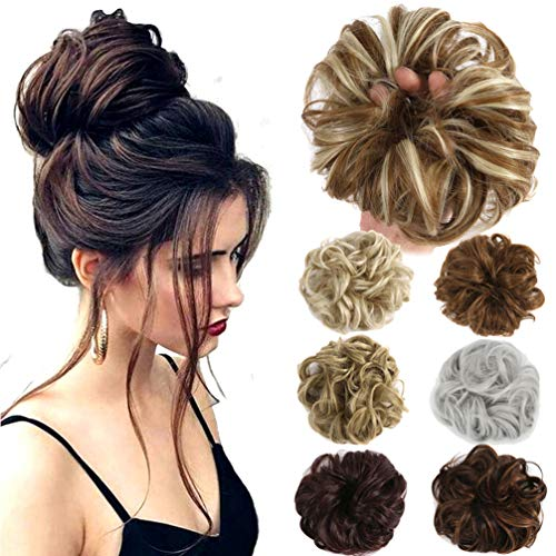 Hair Bun Extensions Wavy Curly Messy Donut Chignons Hair Piece Wig Hairpiece (Silver Grey-N, onesize)